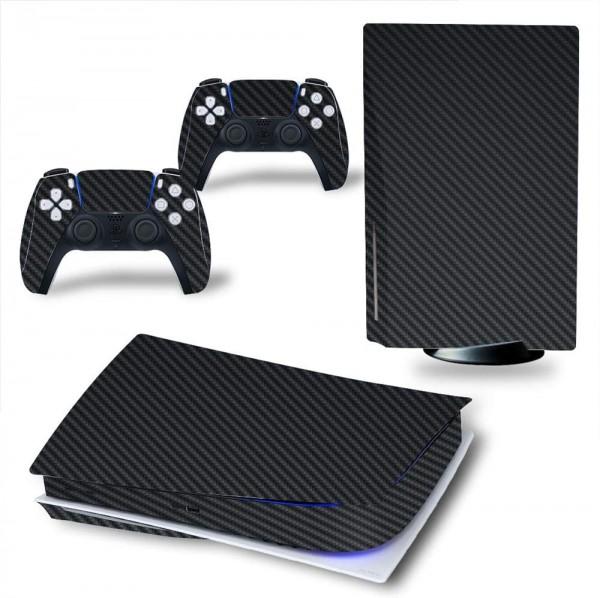 Carbon Skins passend für PS5 Digital Version in schwarz mit 3D Effekt